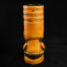 Load image into Gallery viewer, Toothy Tiki Mug, Orange Wipe Away with Black Interior Glaze