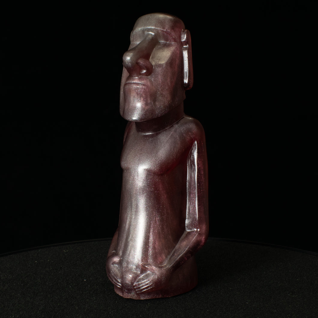 Mini Moai Figure, Pewter and Blood Red Swirl