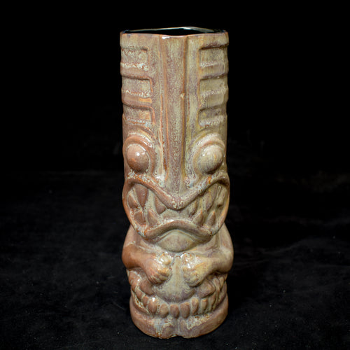 Toothy Tiki Mug, Gloss Grey Swirly Glaze