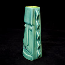 Load image into Gallery viewer, Tall Spiky Tiki Mug, Gloss Teal with Green