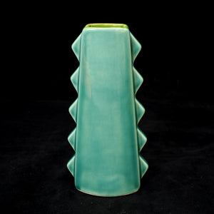 Tall Spiky Tiki Mug, Gloss Teal with Green