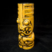 Load image into Gallery viewer, Toothy Tiki Mug, Semi Gloss Yellow Spice Glaze