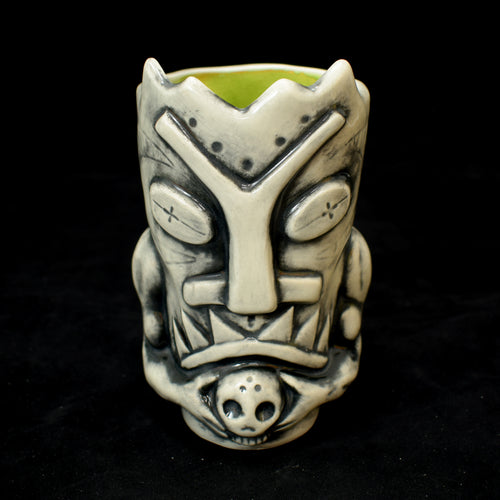 Terrible Tiki Mug, White Wipe Away with Green Interior