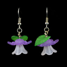 Load image into Gallery viewer, Bright Hanging Flower Earrings, White and Violet