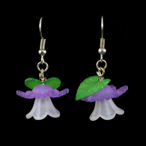 Bright Hanging Flower Earrings, White and Violet