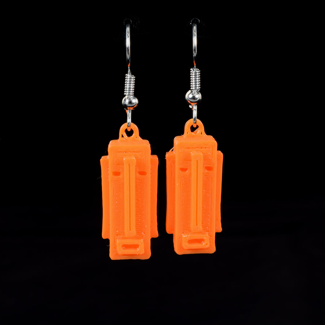 Long Tiki Face Hanging Earring, Orange