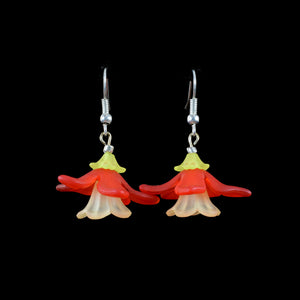 Long Pedal Hanging Flower Earring, Red and Yellow