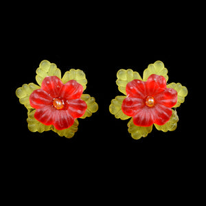 Frilly Flower Earrings, Red on Yellow