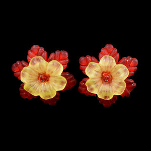 Frilly Flower Earrings, Yellow on Red