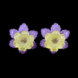 Frilly Flower Earrings, Yellow on Violet
