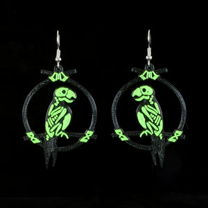 Terrible Tiki Enchanted Parrot Skeleton Earrings