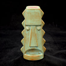 Load image into Gallery viewer, Tall Spiky Tiki Mug, Patina Green with Pink
