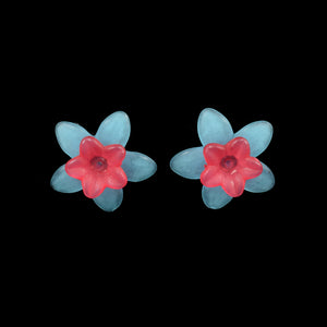 Little Flower Earrings, Red on Blue