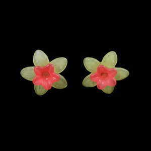 Little Flower Earrings, Red on Green