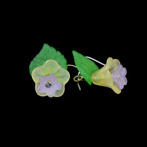 Little Hanging Flower Earrings, Yellow and Purple