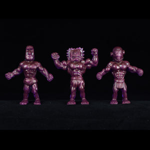 Tiki Melee T.I.K.I. figures One Off, Set of 3, Translucent Purple Interference Gold