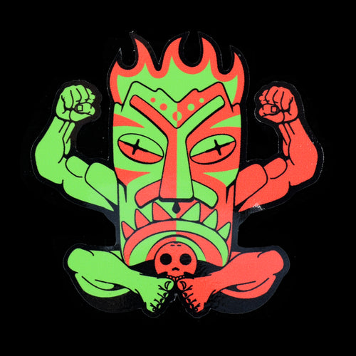 Terrible Tiki Mascot Contour Sticker