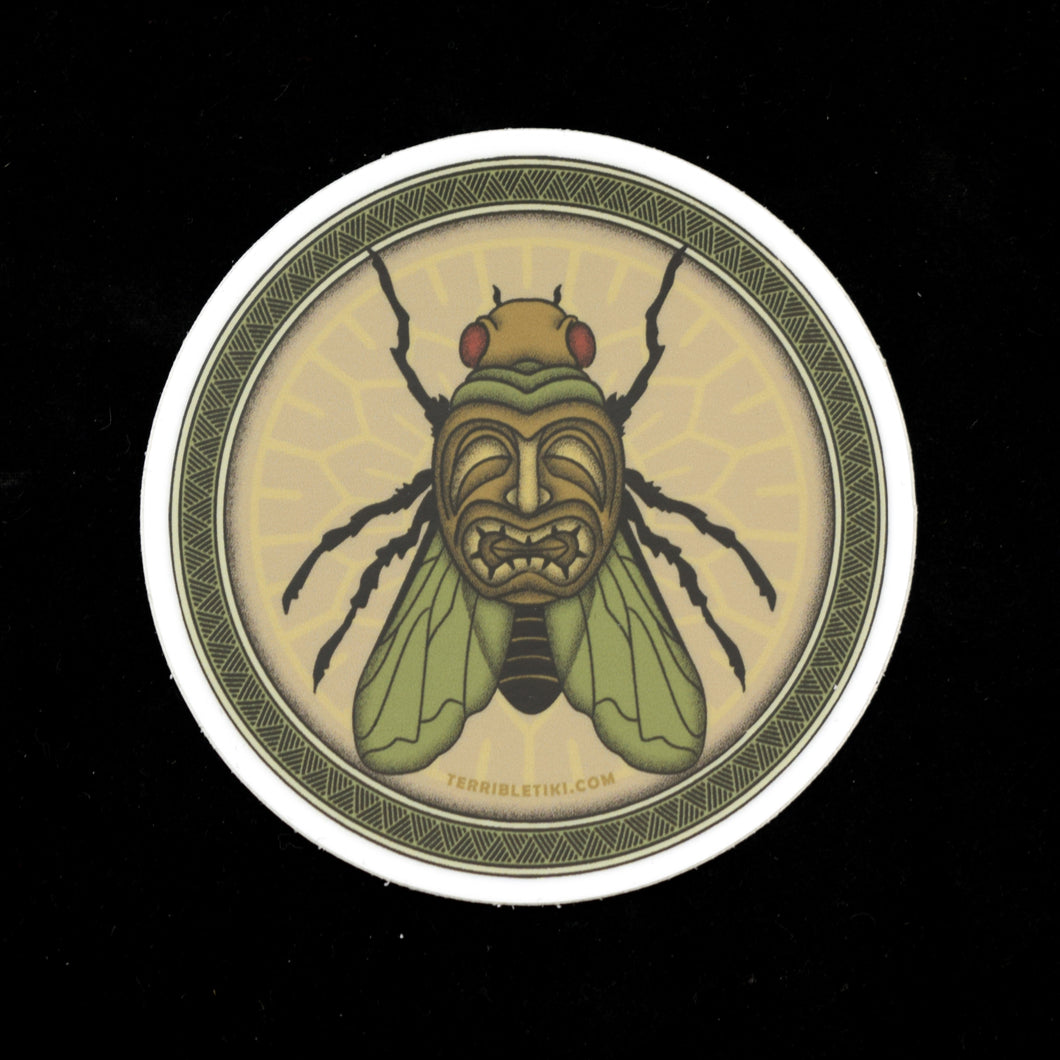 Tiki Fly Round Vinyl Sticker