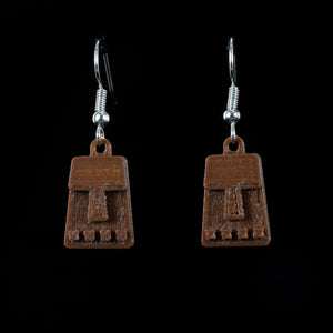 Tiny Tiki Face Hanging Earring, Brown