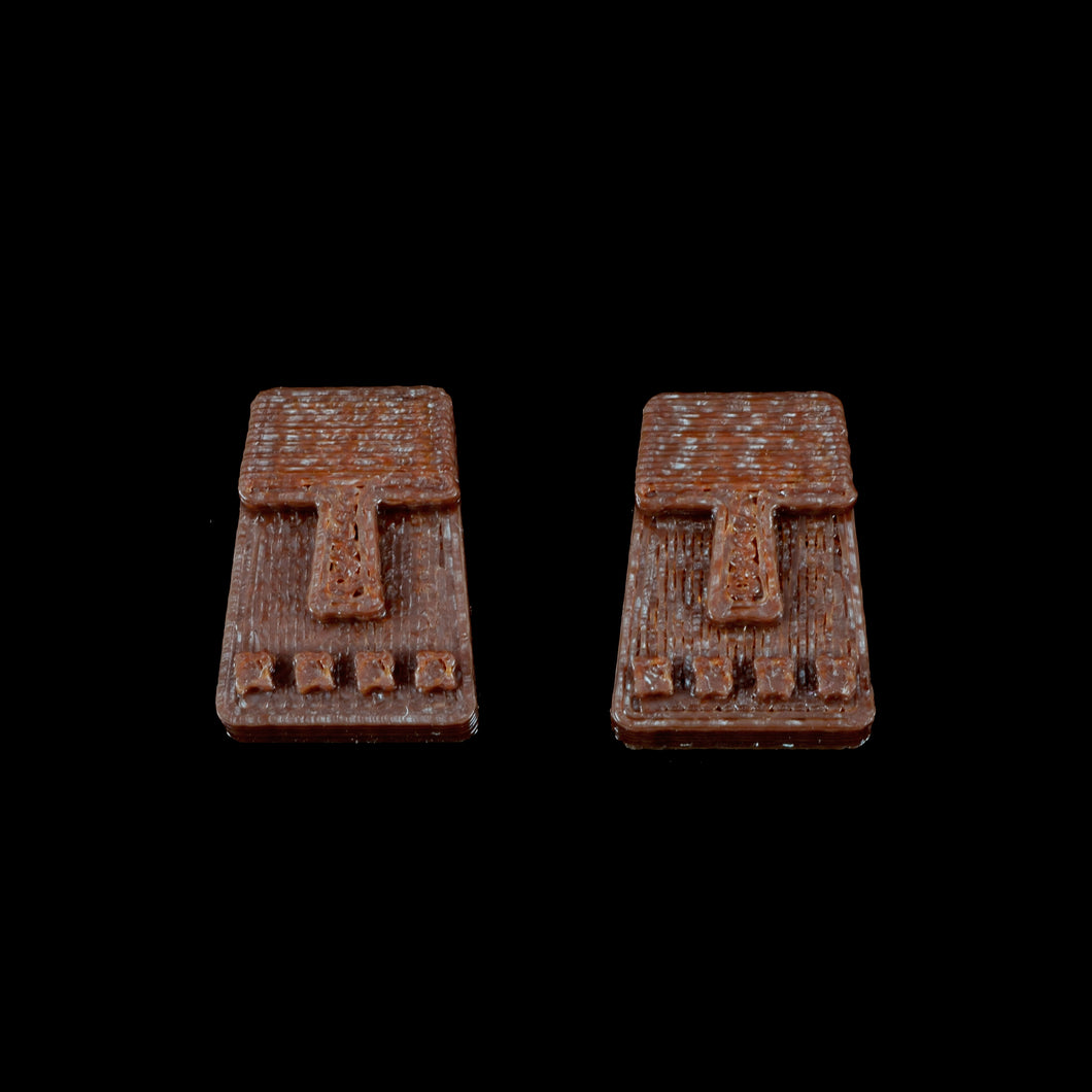 Tiny Tiki Face Earring, Brown