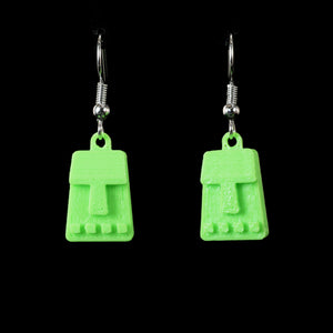Tiny Tiki Face Hanging Earring, Green