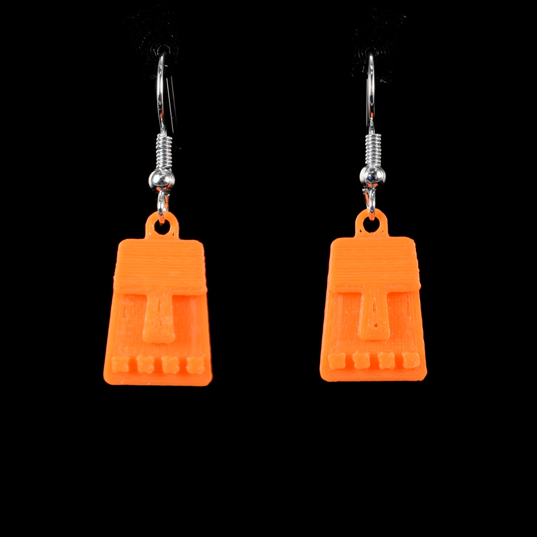 Tiny Tiki Face Hanging Earring, Orange