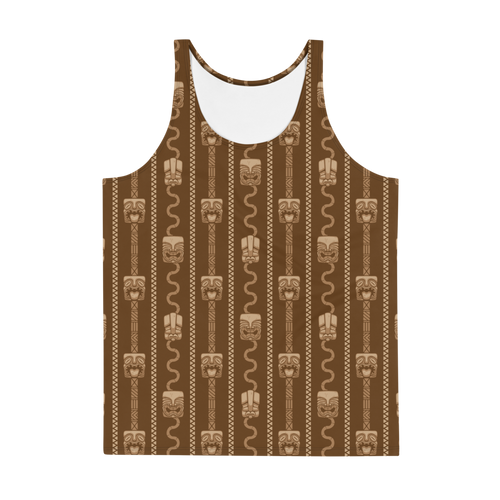Brown Tiki All Over Print Men's Tank Top