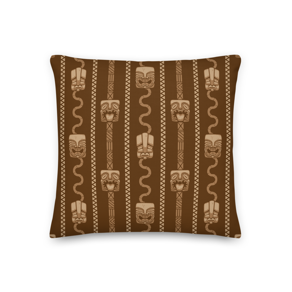 Brown Tiki Head Pillow