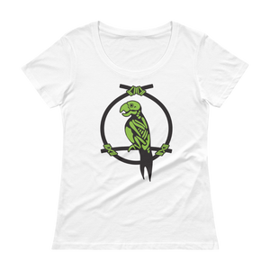 Zombie Parrot Ladies' Scoopneck T-Shirt, Pink or White