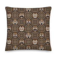 Load image into Gallery viewer, Round Tiki Faces Pillow