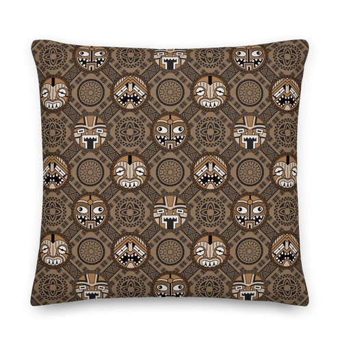Round Tiki Faces Pillow