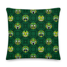 Load image into Gallery viewer, Green Round Tiki Face Pillow