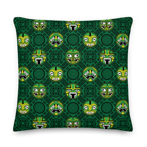 Green Round Tiki Face Pillow