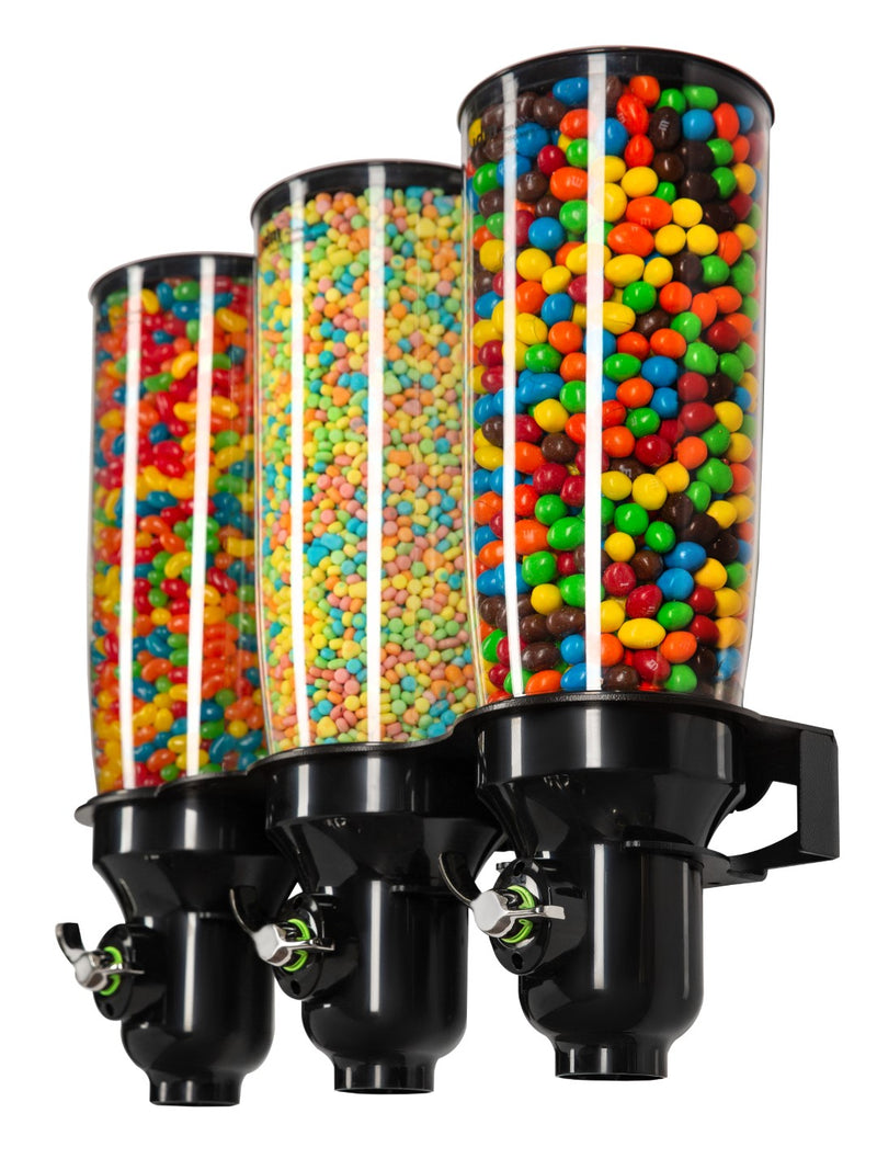 DH30-BL-FF_Triple Wall Mounted_Candy Dispenser_Black_IDM Dispenser