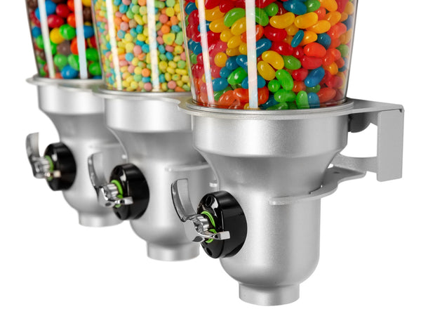 DH30-FF_Triple Wall Mounted_Candy Dispenser_Silver_IDM Dispenser