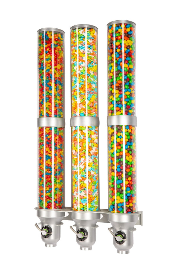H30L-SI-FF Candy Dispenser_Triple Wall Mounted_Silver_IDM Dispenser