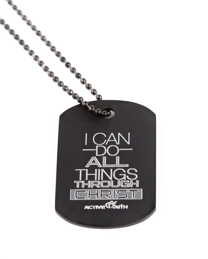 Women's I Can Do All Things Through Christ Dog Tag Black