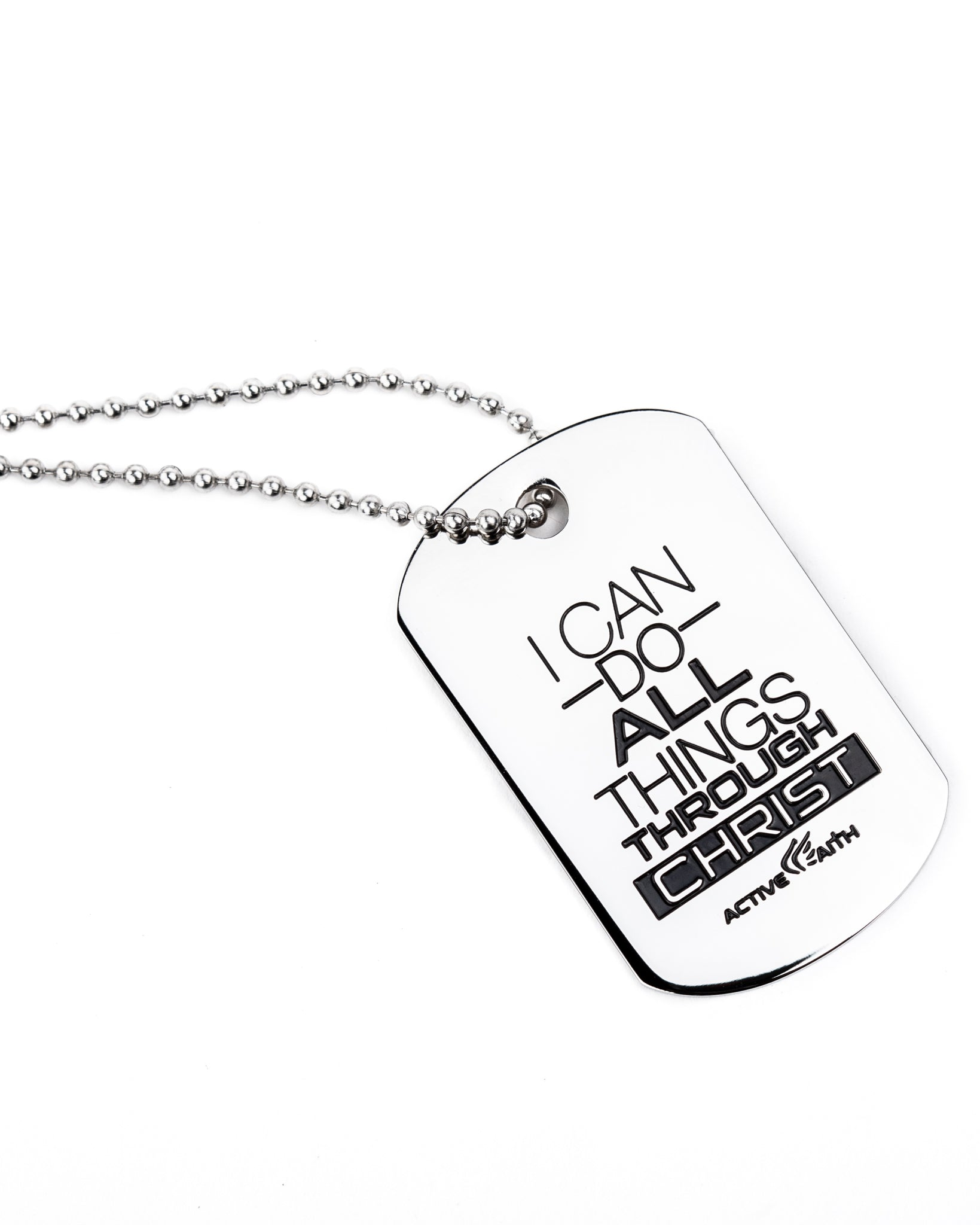 Women's I Can Do All Things Through Christ Dog Tag Silver