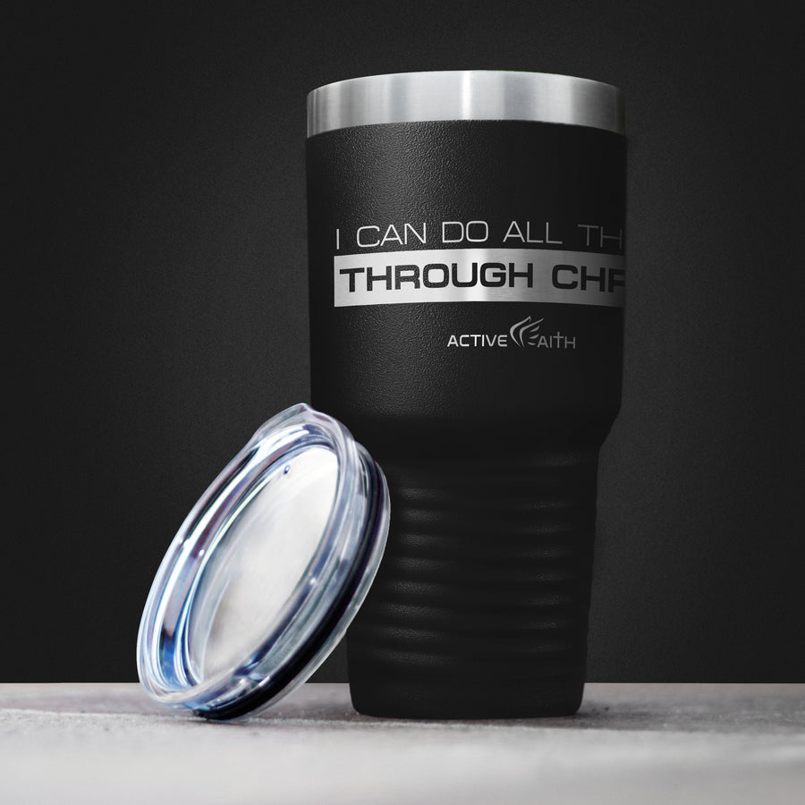 I Can Do All Things Through Christ Box Logo Tumbler