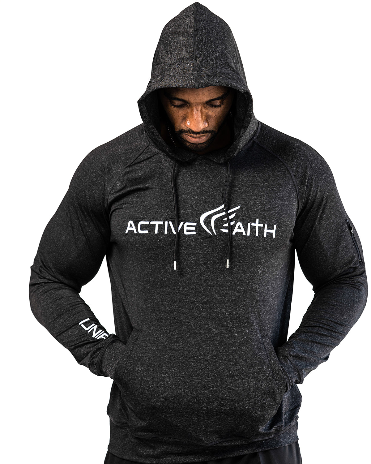 Mens Active Faith Logo Performance Hoodie in Black Color