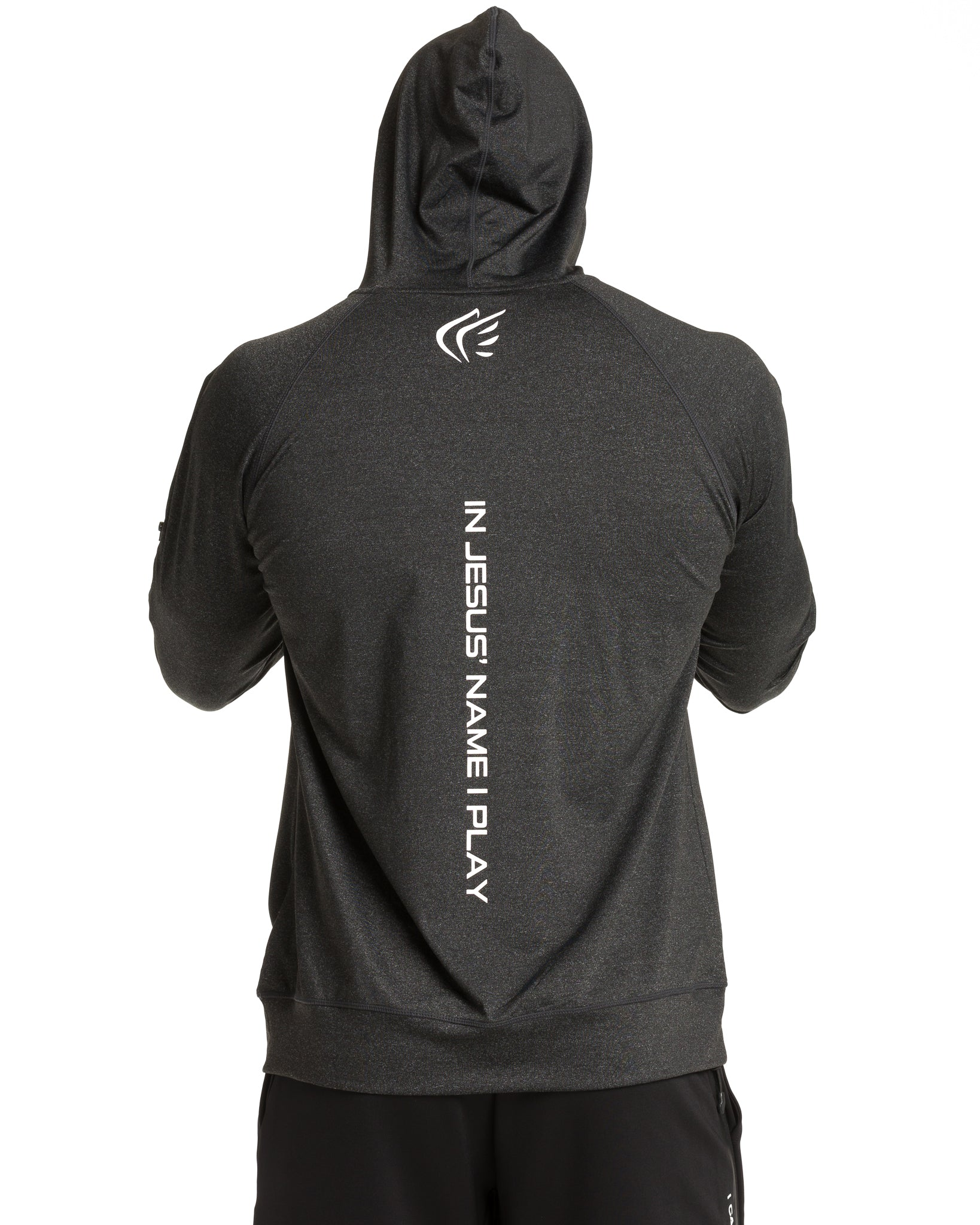 Mens Active Faith Logo Performance Hoodie in Charcoal White Color