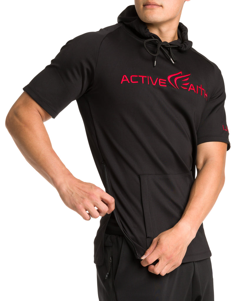 Men's  Active Faith Short Sleeve Logo Performance Hoodie in Black Color