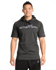 Men's  Active Faith Short Sleeve Logo Performance Hoodie in Charcoal White Color