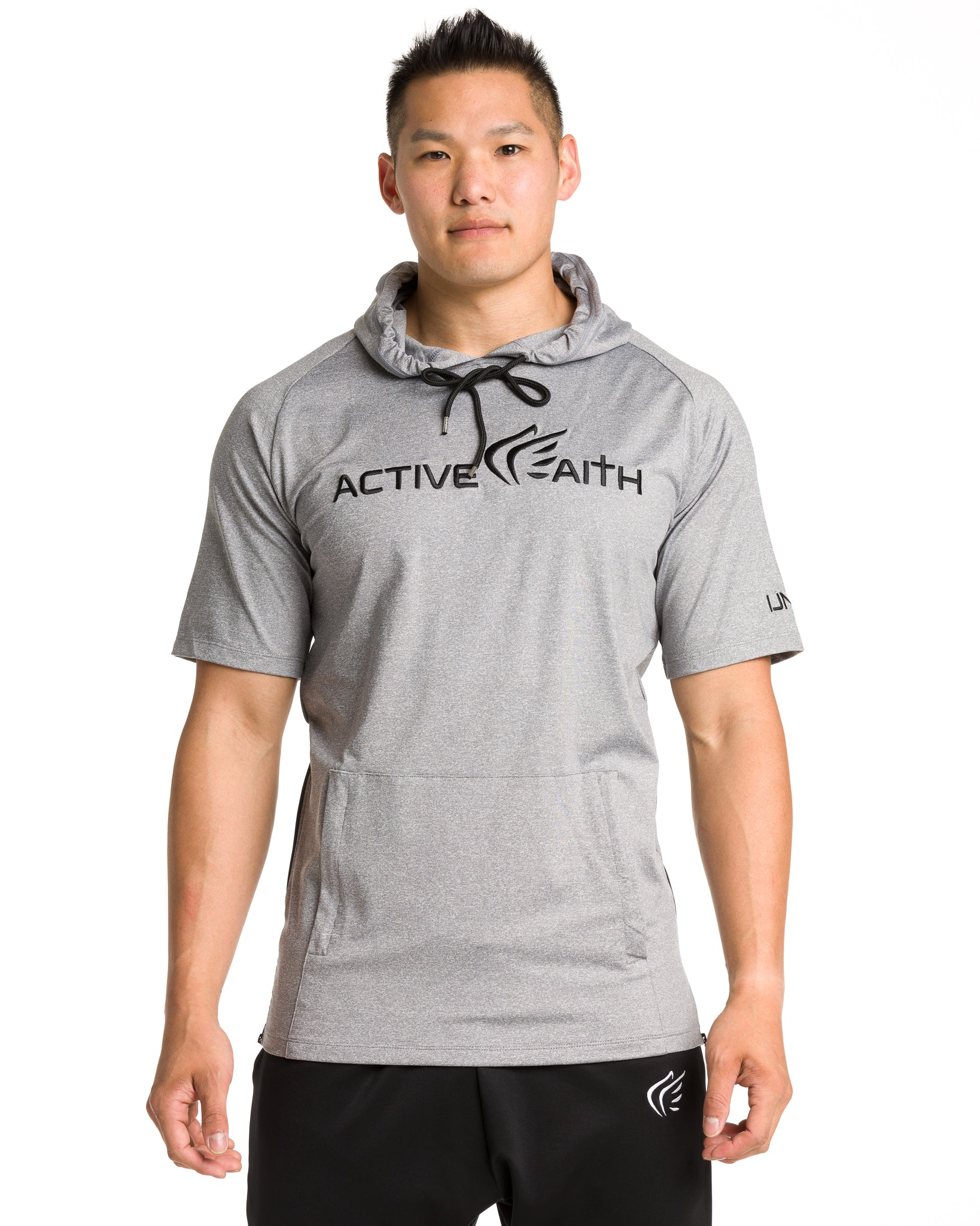 Men's  Active Faith Short Sleeve Logo Performance Hoodie in Grey Color