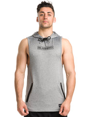 Men's Blessed Performance Tech Sleeveless Hoodie in Grey Color