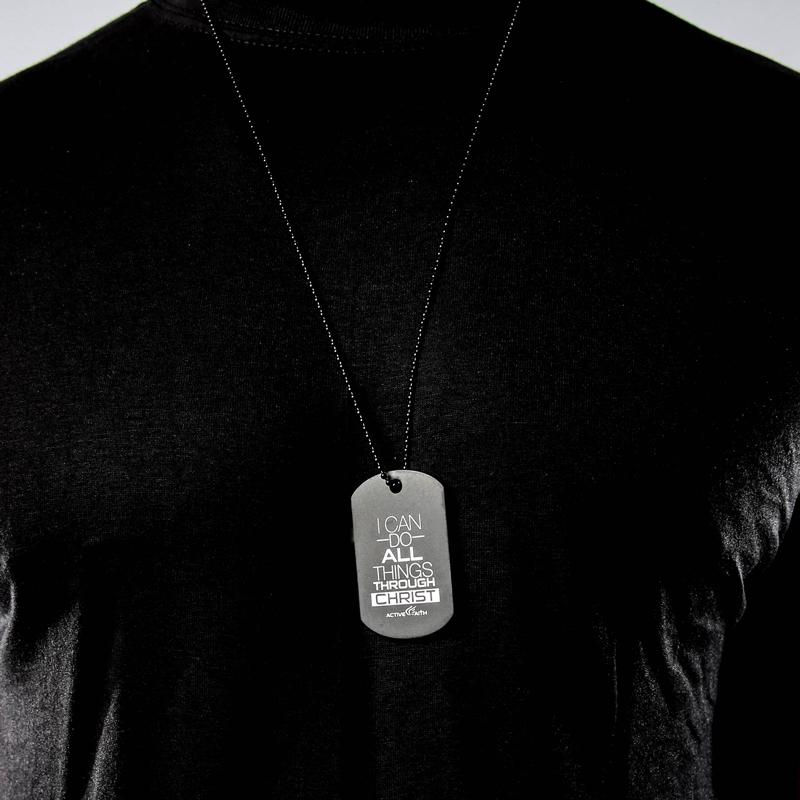 Men's Active Faith I Can Do All Things Through Christ Dog Tag Black Pendant