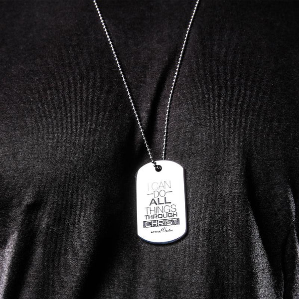 Men's I Can Do All Things Through Christ Dog Tag Silver