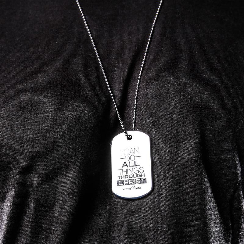 I Can Do All Things Through Christ Dog Tag Silver Pendant
