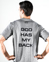 Men's Active Faith God Has My Back Performance T-Shirt in Grey Color