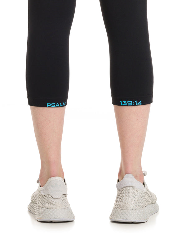 ANGEL Capri Tights Black/Teal